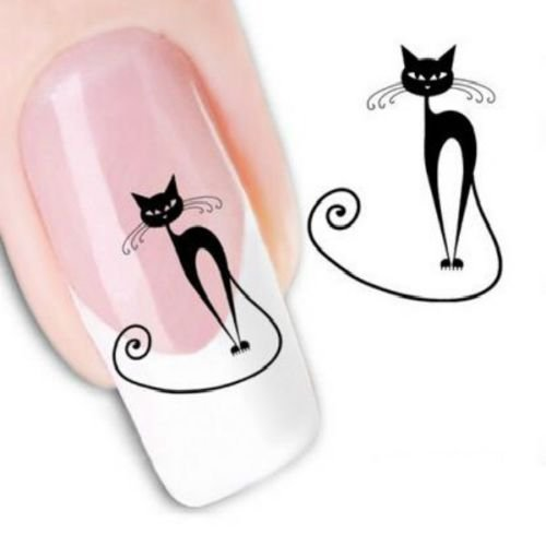 Lovely Black Cat Halloween Nail Art Water Transfer Slide Decals Sticker Tips