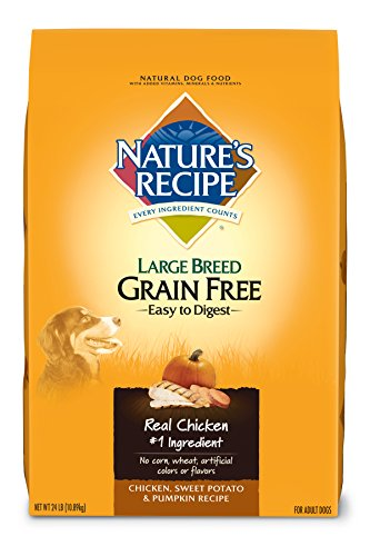 Nature's Recipe Large Breed Grain Free Dry Dog Food, Chicken, Sweet Potato & Pumpkin Recipe, 24-Pound
