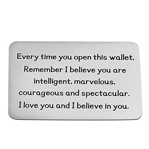 Inspirational Gift Metal Wallet Card Insert Remember I Love You and Believe in You Encouragement Gift for Son Daughter (Silver)