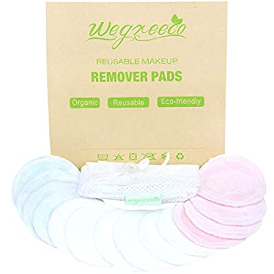 Wegreeco Bamboo Makeup Remover Pads with Laundry Bag - Chemical free, Reusable Soft Facial and Skin Care Wash Cloth Pads - Wipes Face Clean