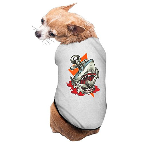 WUGOU Dog Cat Pet Shirt Clothes Puppy Vest Soft Thin Big Dark Anchor Shark 3 Sizes 4 Colors Available ()