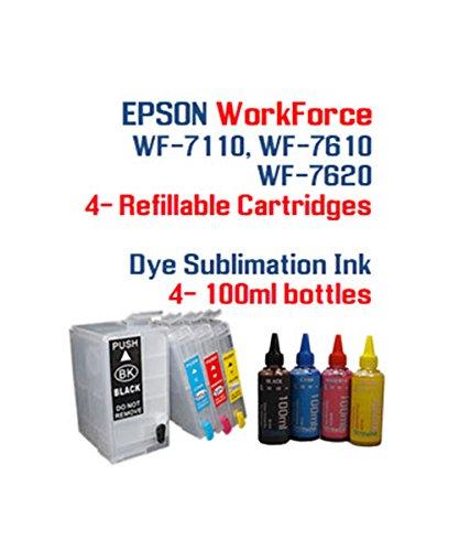 Dye Sublimation Ink Package - WorkForce WF-7110 WF-7610 WF-7620 printer Refillable ink cartridge package - 4 multi-color bottles 100ml each color - 4 Refillable ink cartridges