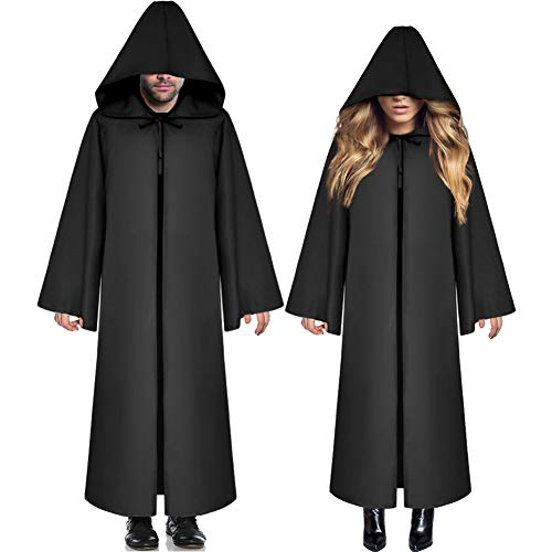 Soo Angeles Halloween Hooded Cloak Medieval Knight Robe Cape Costume Cosplay Role Party for Men & Women (Black XL) ()