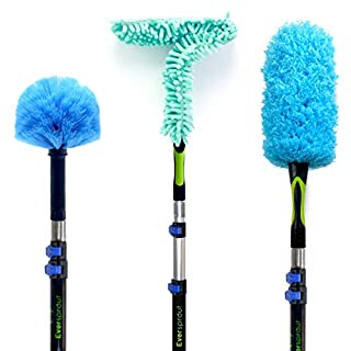 EVERSPROUT Duster 3-Pack with Extension-Pole (25+ Foot Reach) | Hand-Packaged Cobweb Duster, Microfiber Feather Duster, Flexible Microfiber Ceiling & Fan Duster | Aluminum Telescopic Pole