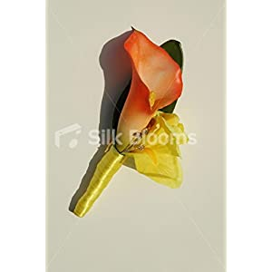 Bright Orange Calla Lily & Yellow Iris Buttonhole w/ Crystal Pin 28
