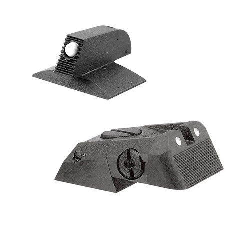 Kensight DAS 1911 Defense Adjustable Rear Sight Set White Dot with Serrated Blade - White Dot 0.200