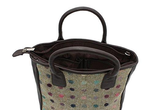 Mala Leather Colección ABERTWEED Bolso Bolera de Cuero y Tweed 728_40 Mancha marrón Mancha marrón