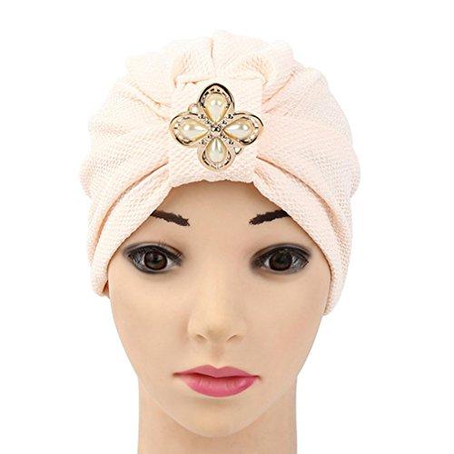 Qingfan Women Solid Rhinestone Pre Tied Cancer Chemo Hat Beanie Turban Stretch Head Wrap Cap (Beige)