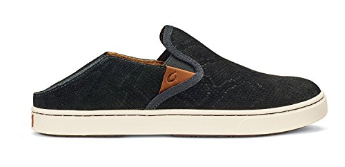 OLUKAI New Women's Pehuea Leather Slip On Black Honu/Black 9.5