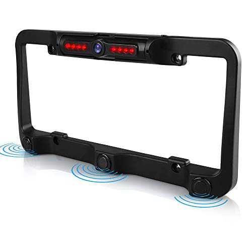 View Chrome Camera Rear (License Plate Frame Rear View Reverse Backup Camera Kit, Car Rover 170° Viewing Angle Universal Reversing Cameras with 8 IR Night Vision Waterproof LED 3 Parking Sensors for Vehicle)