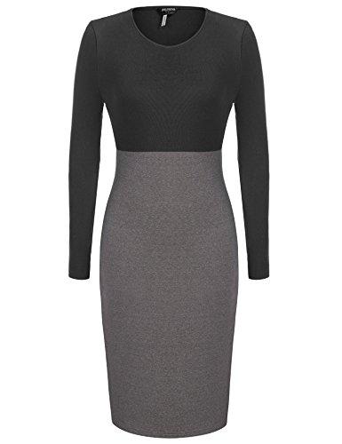 Women's Knit Dress,Zeagoo Casual Round Neck Patchwork Tunic Dress,Black,XX-Large