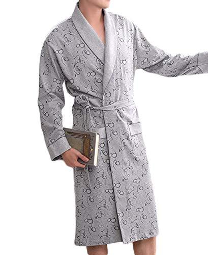 De Gris Informal Suave Y Ropa Noche Hombres Algodón Otoño Cómodo Pijama Los Albornoz Vestido Bata Hogar Para El dnATOg8d