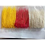 O GU Om Phool Pooja Batti Long Cotton Wicks or Diya Batti Navratri Special Jyot Batti, in 3 Color (Red, Yellow, White) - Pack of 8