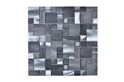 Legion Furniture MS-ALUMINUM18 Mosaic with Mix Aluminum Wall Tile, Gray/Silver ()