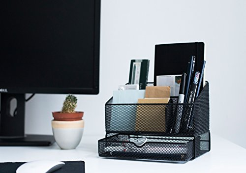 Equippt Desk Organizer Caddy with Draw, Letter Holder & Mail Organizer for Offices out of Black Steel Mesh by Equippt (Image #1)
