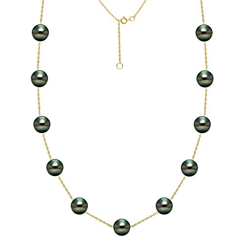 Pearl Cup Tin Tahitian (South Sea Tahitian Cultured Black Pearl Necklace Tin Cup Chain 14K Yellow Gold 8-8.5mm 18 inch)