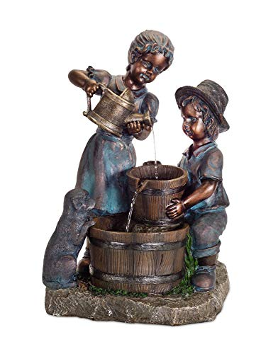 Diva At Home Water Pouring Boy and Girl Fountain 25.5
