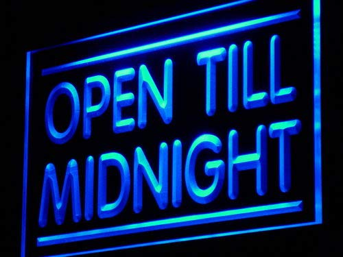 ADVPRO Cartel Luminoso j081-b Open Till Midnight Shop Cafe ...