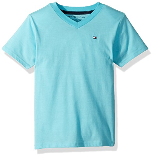 Tommy Hilfiger Boys' Big Short Sleeve Striped V-Neck T-Shirt, Bermuda Blue, X-Large