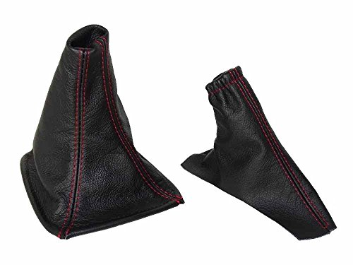 The Tuning-Shop Ltd For Toyota Celica 1999-05 Shift E Brake Boot Black Italian Leather Red Stitching