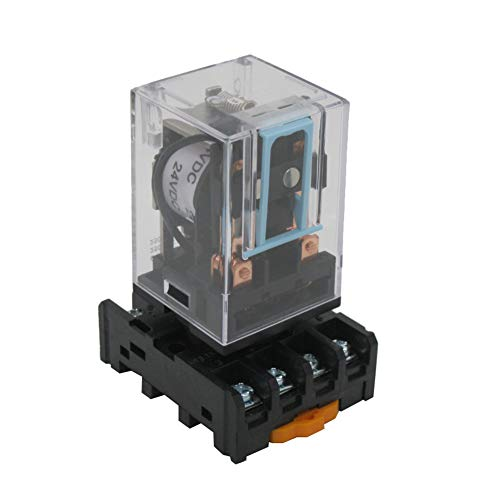 Taiss / MK2P-I DC 24V Coil 8 Pin DPDT Electromagnetic Relay Power Relay with Plug-in Terminal Socket Base (Warranty 2 Years) LMK2P-I ()