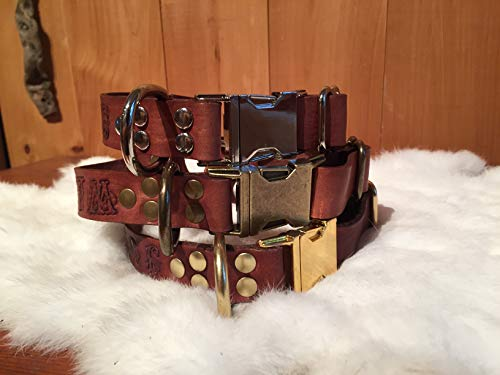 (Personalized Brown Leather Dog Collar with Quick-Release Buckle)