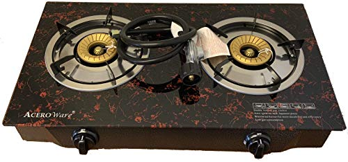 2 Burner Propane Gas Stove - Cooktop Portable Cooker Camp Stove - Table Top Glass STYLE - Acero Ware ()