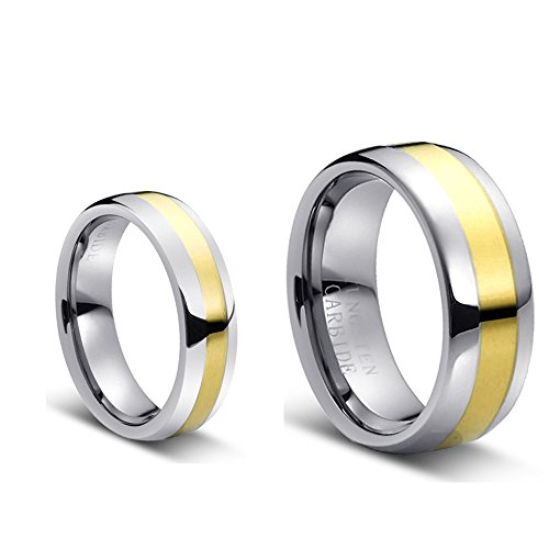 Duo Claddagh - Men & Ladies 8MM/6MM Tungsten Carbide Duo Tone Domed Golt Plated Center Wedding Band Ring Set