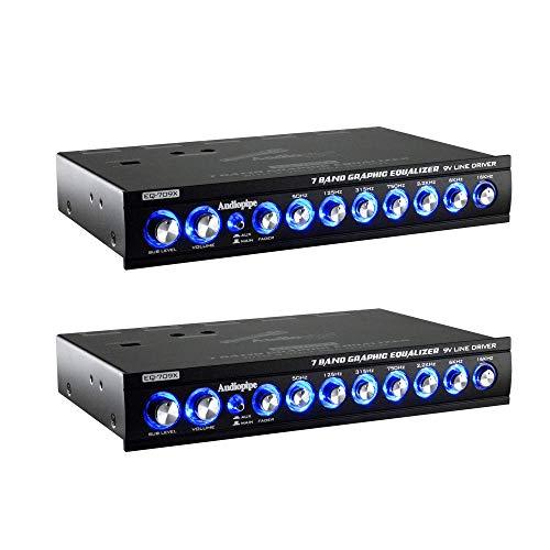 Audiopipe EQ-709X 7 Band 9.V Half DIN Parametric Car Audio Equalizer EQ (2 Pack)