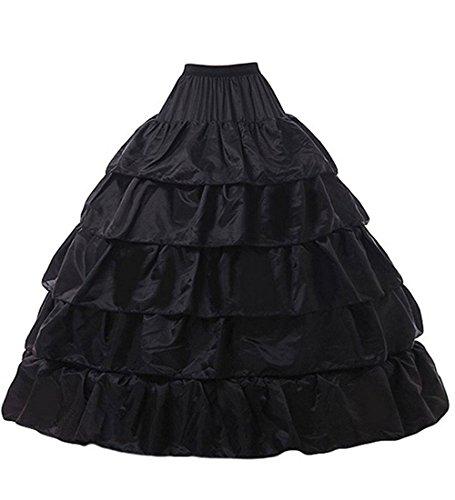 dannifore Black 4 Hoops 5 Layer Wedding Dresses Petticoat Quinceanera Gown Underskirt -