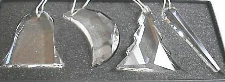 Oleg Cassini Crystal Christmas Ornament Set of 4 – Tree, Moon, Icicle, Bell