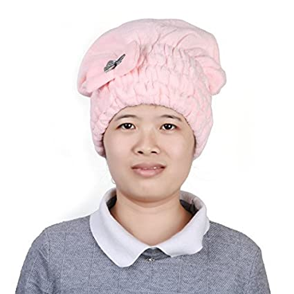 eDealMax Cap microfibra baño de ducha elástico decoración Bowknot agua absorbente Cabello seco Sombrero Rosado
