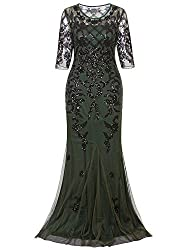 Vijiv Vintage 1920s Long Wedding Prom Dresses 2 3 Sleeve Sequin Party Evening Gown Green Xx Large