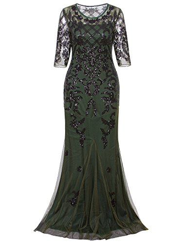 Vijiv Vintage 1920s Long Wedding Prom Dresses 2/3 Sleeve Sequin Party Evening Gown,Green,Small