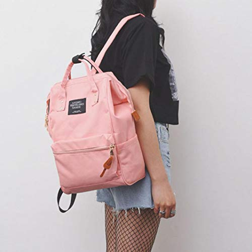 Pink Unisex Shoulder Backpack Large Casual Version Solid Bag Black Bag School Travel Updated Zipper Double fwfr6xZgq