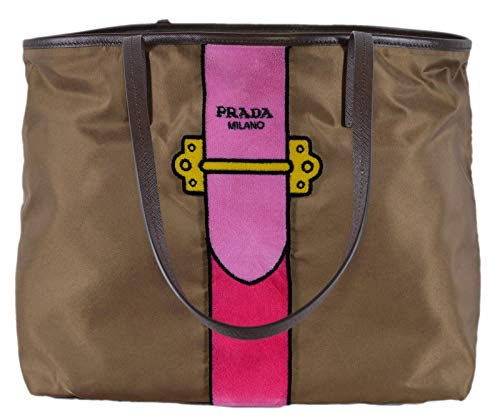 Prada Womens Brown Tessuto Ricamo Shopping Tote Shoulder Bag Messenger Bag with Pink Velvet Accent Line Leather Trim 1BG065 -