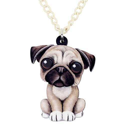- NEWEI Acrylic Sweet French Bull Pug Dog Necklace Pendant Chain Choker Jewelry for Women Girl Gift by The