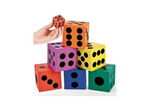 Foam Jumbo Playing Dice (12), assorted, 1-Pack of 12