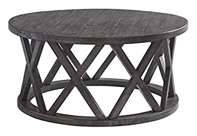 Signature Design by Ashley T711-8 Sharzane Round Cocktail Table, Grayish Brown