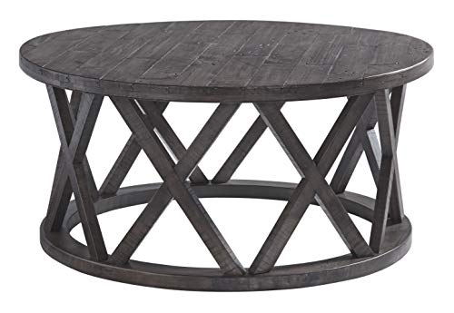 Signature Design by Ashley T711-8 Sharzane Round Cocktail Table Grayish Brown