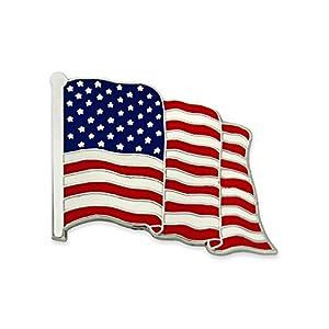 PinMart Made in USA Waving American Flag Enamel Lapel Pin – Silver