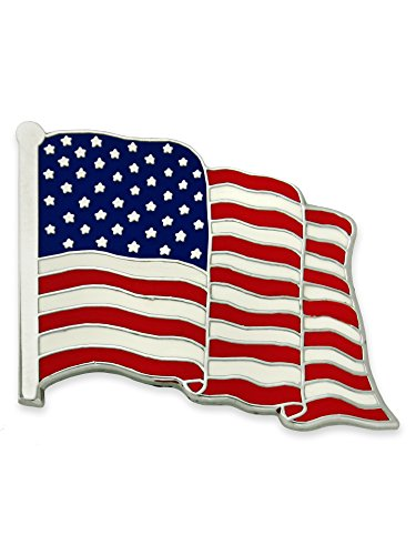 PinMart Made in USA American Flag Jewelry Qualtiy Silver Enamel Lapel Pin ()