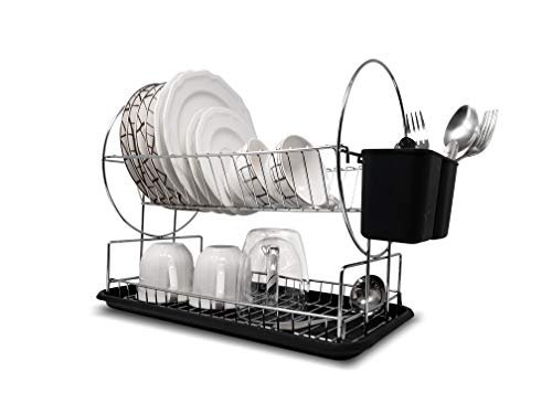 Dish Drying Rack, Drain Board - Chrome, 2-Tier Dish Rack - With Removable Drainboard and Utensil Holder, For Kitchen Counter top - Kitchen, Dishes Organizer By-Lendra