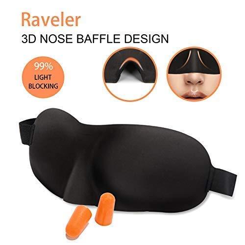 Sleep Mask for Woman and Man, Raveler Upgraded Contoured 3D Eye Mask Eye Cover with Ear Plug Set, Comfortable Sleeping Mask No Pressure On Your Eyeballs