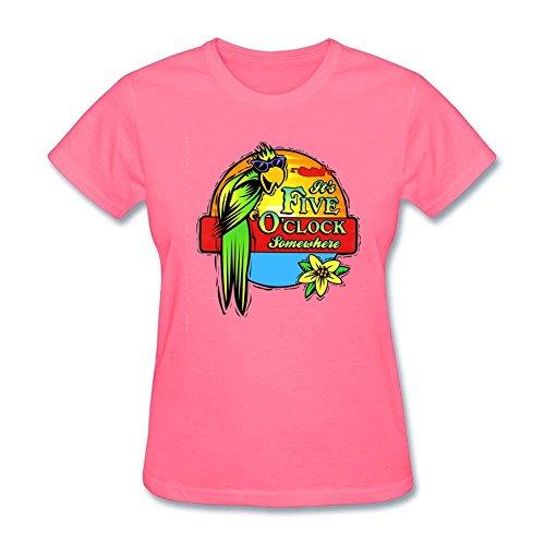 Design Tee Women It's 5 O'clock Somewhere T-Shirt Organic Cotton Basic Tee Pink L (A List Cotton T-shirt)