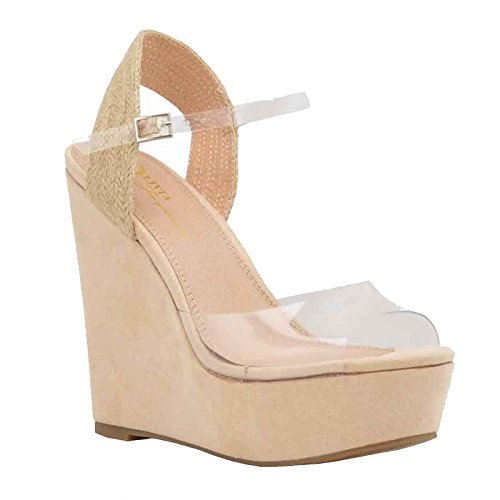 Women Wedge Sandals Clear Lucite One Band Ankle Strap Platform Casual Shoes (6.5, Camel)