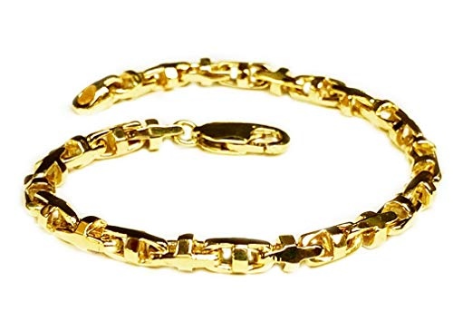 14k Solid Yellow Gold Anchor Mariner Bullet Link Bracelet 4 MM 18 grams 10