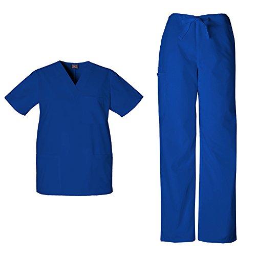 (Cherokee Workwear Unisex V-Neck Top 4876 & Drawstring Pant 4100 Scrub Set (Galaxy Blue - Small/Small Short))