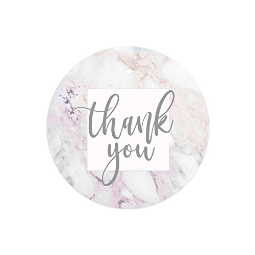 Andaz Press Round Circle Gift Tags, Colored Marble and Gray Script, Thank You, 24-Pack, Colored Party Favors and Decorations