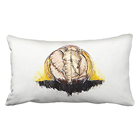Emvency Decorative Throw Pillowcase King 20x36 Inches Abstract Elephant And Rhinoceros Watercolor Cotton Pillow Cover With Hidden Zipper Decor - Round Sterling Silver Wire Basket
